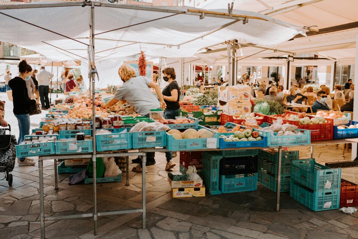 Produce market at the Inca Market in Mallorca Spain