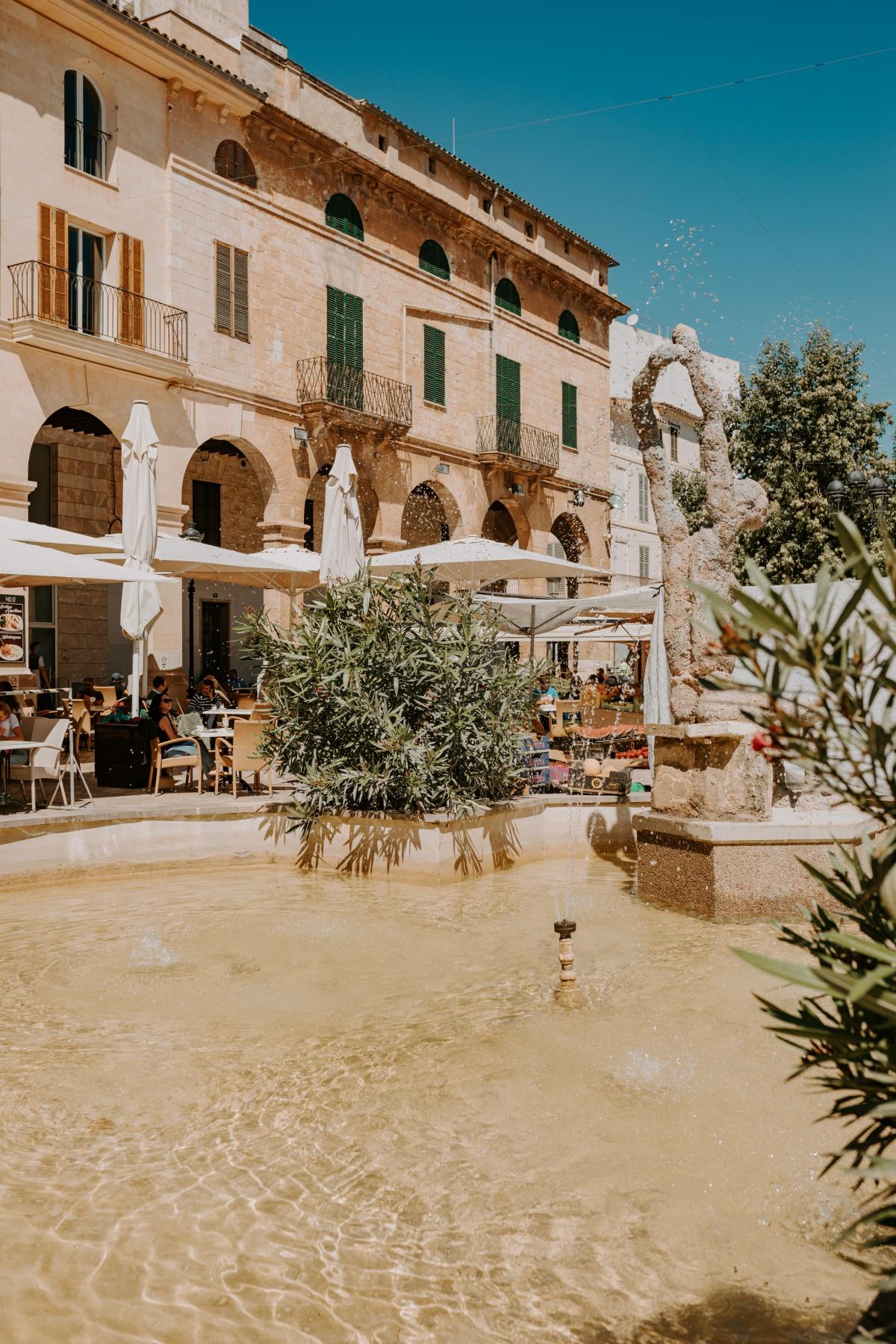 Fountain in the market square in Inca Market Mallorca Spain