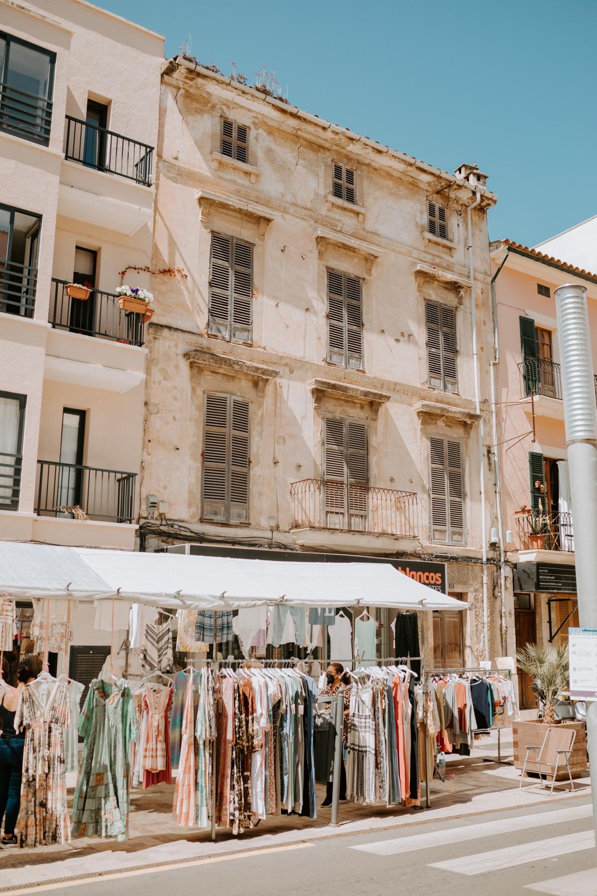 Old buildings in the Inca Market Mallorca Spain