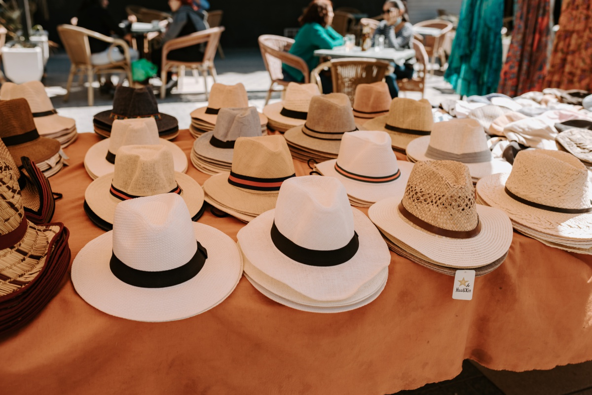 Hat gifts to shop at the Inca Market in Mallorca Spain