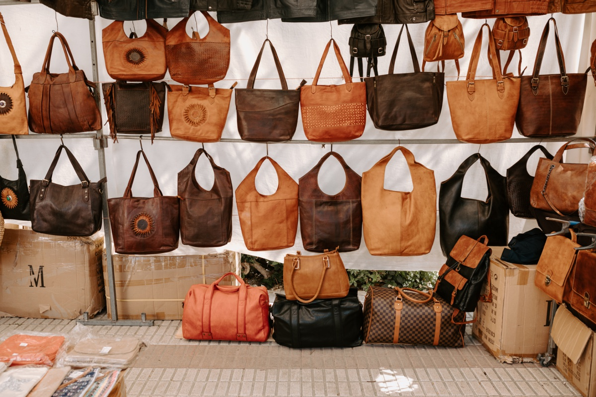 Leather bags to shop at the Inca Market in Mallorca Spain