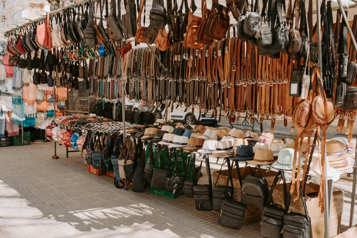 Leather gifts to shop at the Inca Market in Mallorca Spain