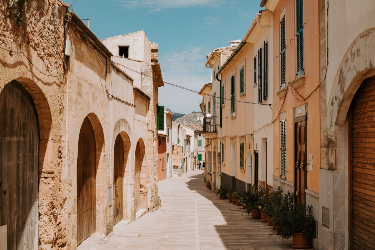 Old road and architecture in Alcudia, Spain.